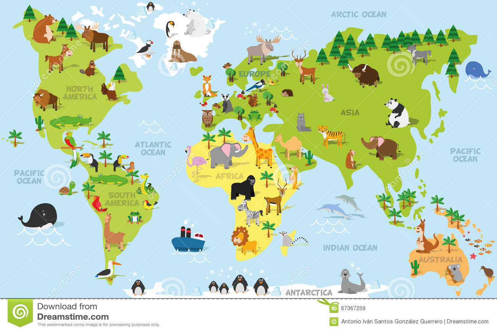Carte drôle du monde de bande dessinée avec les animaux traditionnels de tous les continents et océans Illustration de vecteur po