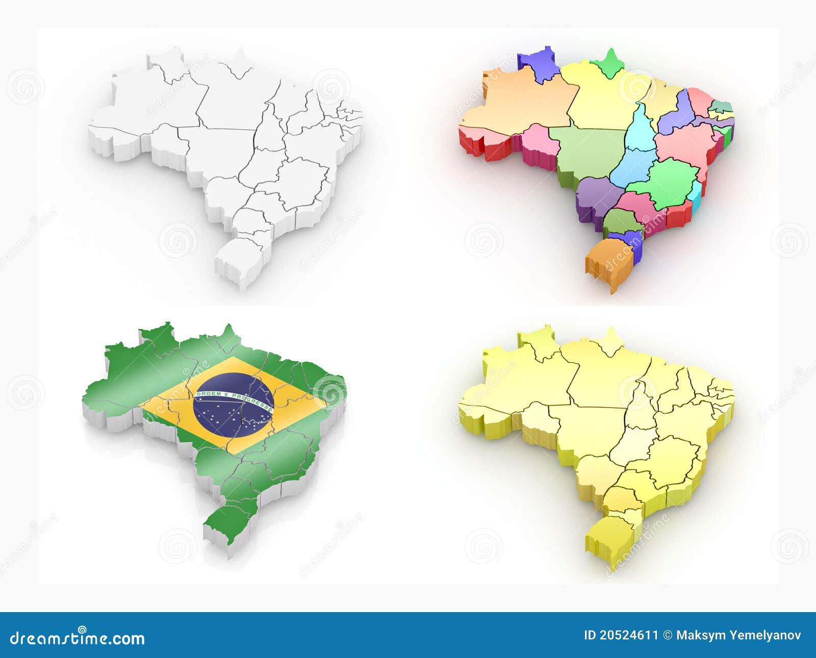 Carte du Brésil. 3d