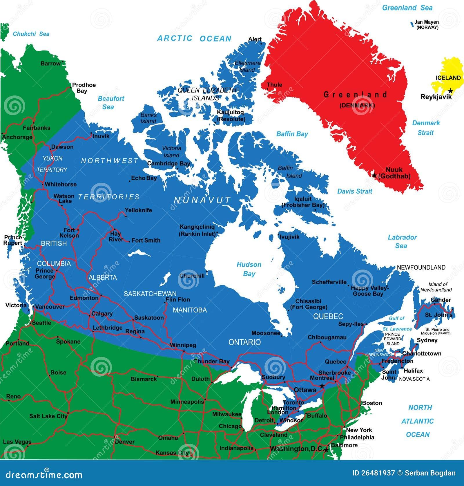 Carte Canada Est Detaillee.Carte Du Canada Illustration De Vecteur Illustration Du Halifax