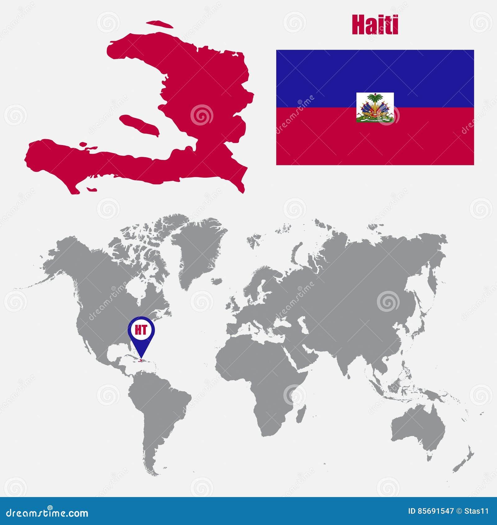 haiti carte du monde Carte Du Haïti Sur Une Carte Du Monde Avec L'indicateur De Drapeau