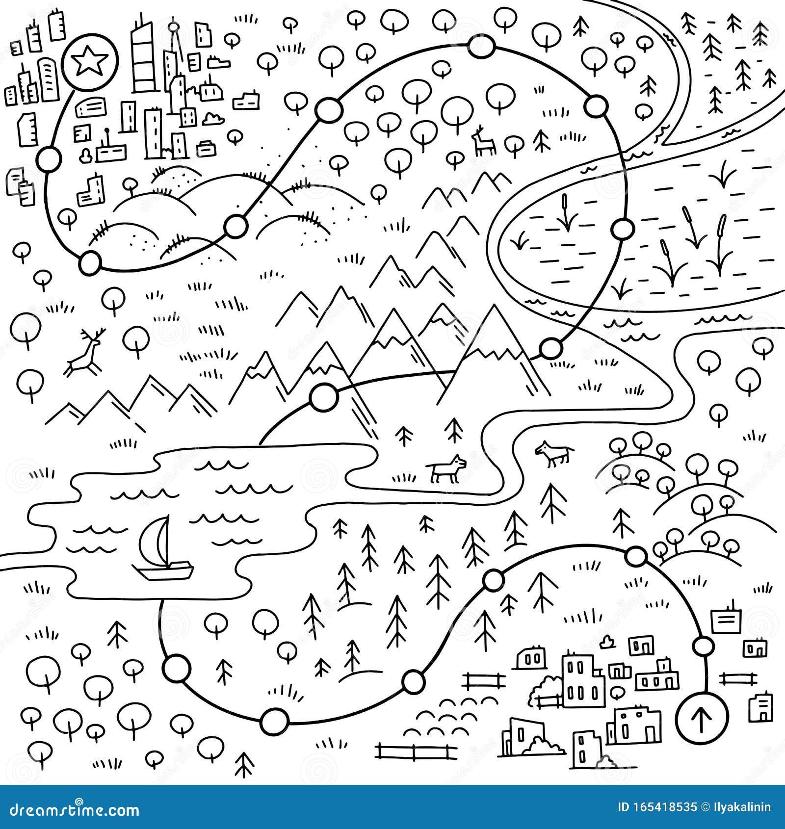 Carte Du Jeu Marcher Sur Le Chemin Ville De Cartoon, Montagnes, Rivière Et  Village Collines Forestières Et Mer Vecteur D'esquisse Illustration de  Vecteur - Illustration du chemin, montagnes: 165418535
