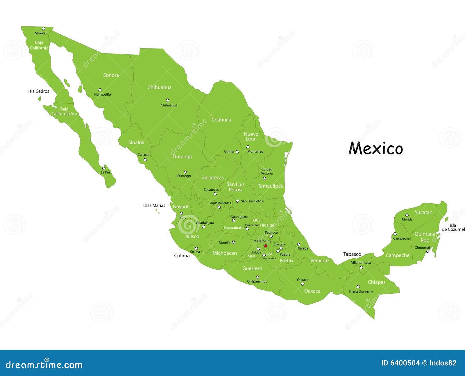 Carte du Mexique de vecteur