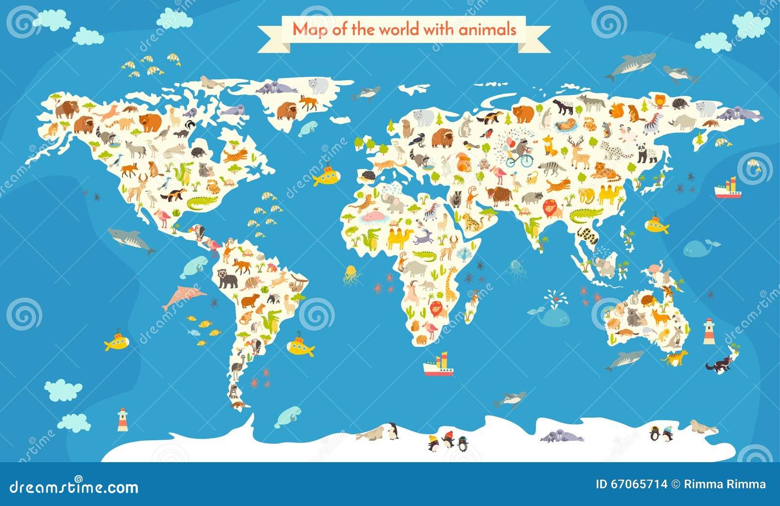 carte du monde avec des animaux belle illustration color e de vecteur illustration de vecteur. Black Bedroom Furniture Sets. Home Design Ideas