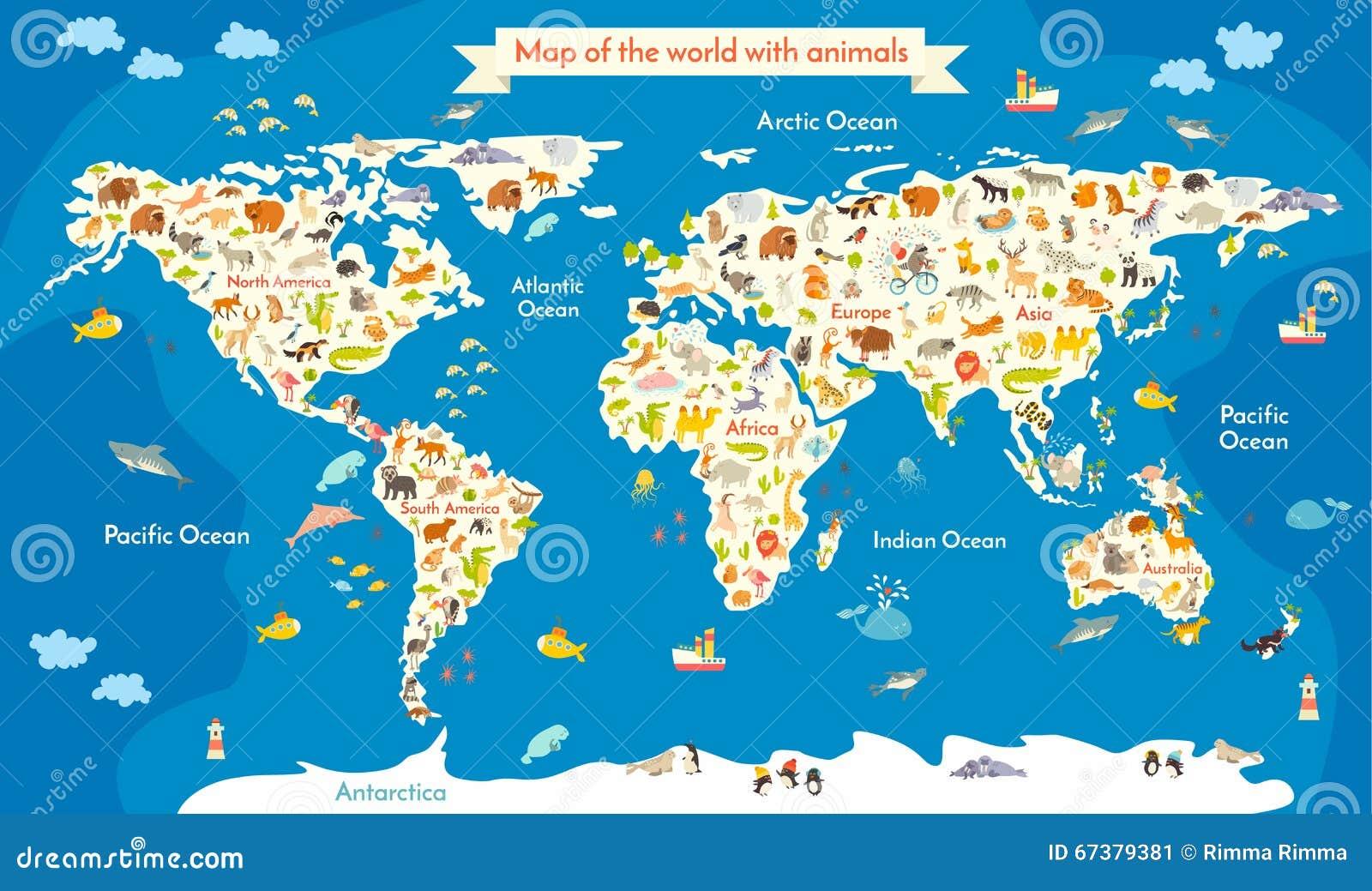 carte du monde avec des animaux belle illustration color e de vecteur avec l 39 inscription des. Black Bedroom Furniture Sets. Home Design Ideas