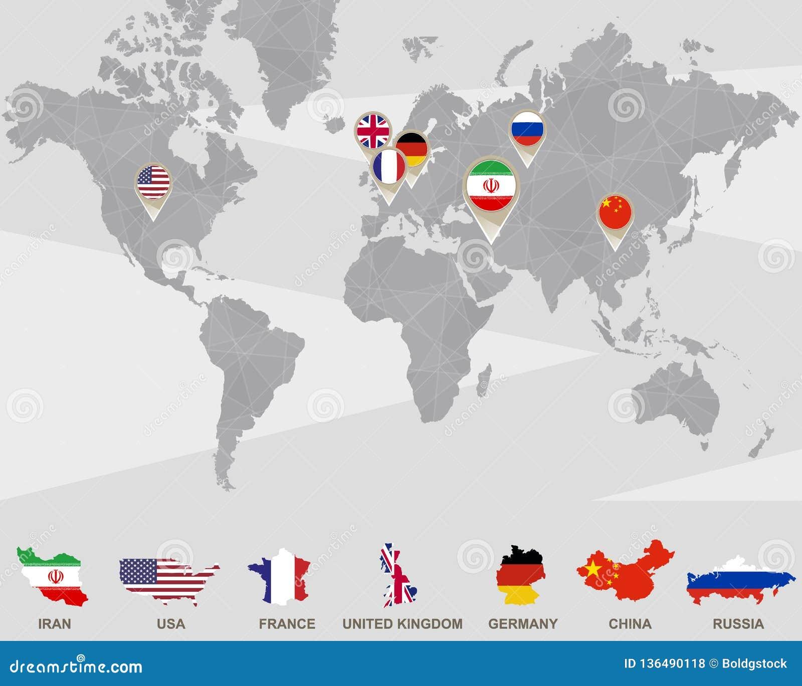 Carte Du Monde Avec Des Indicateurs De Liran Etats Unis
