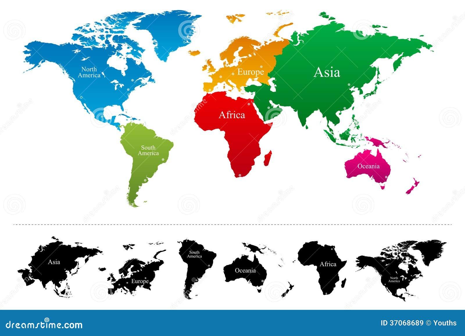 Carte Du Monde Avec Latlas Coloré De Continents