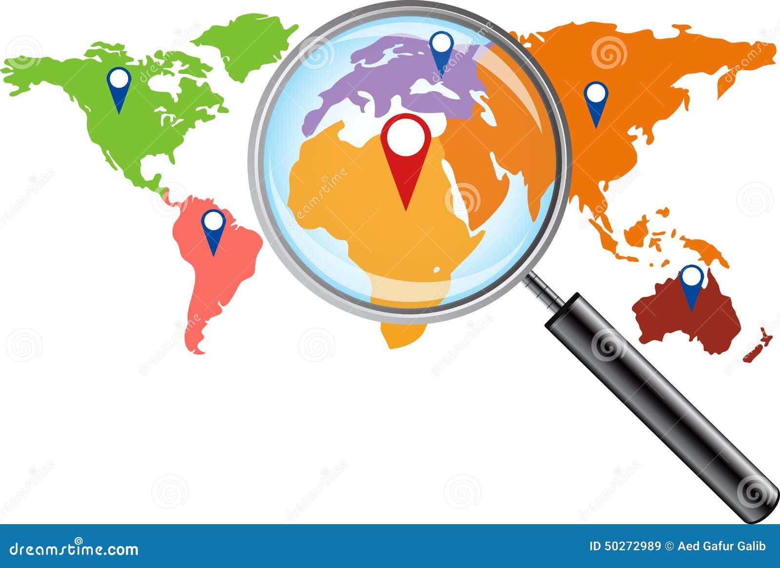 carte du monde avec la loupe illustration de vecteur image 50272989. Black Bedroom Furniture Sets. Home Design Ideas