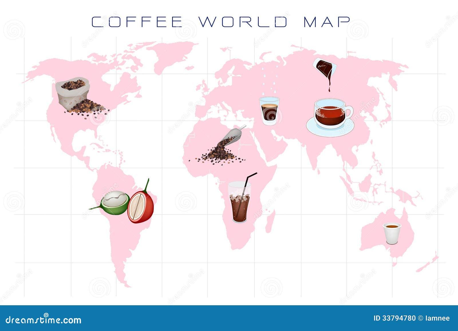 Carte Monde Des Caf Ef Bf Bd