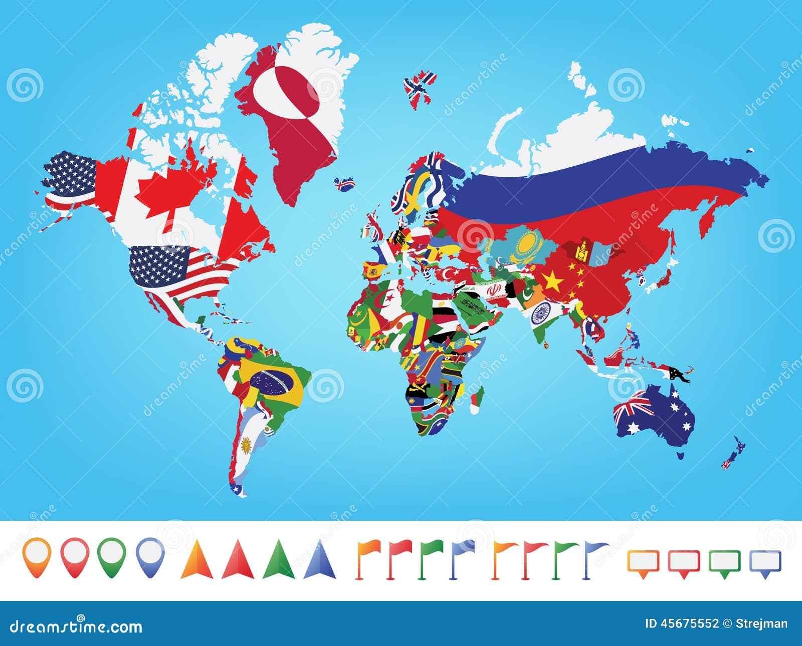 carte du monde avec drapeau Carte Du Monde Avec Le Drapeau Illustration de Vecteur
