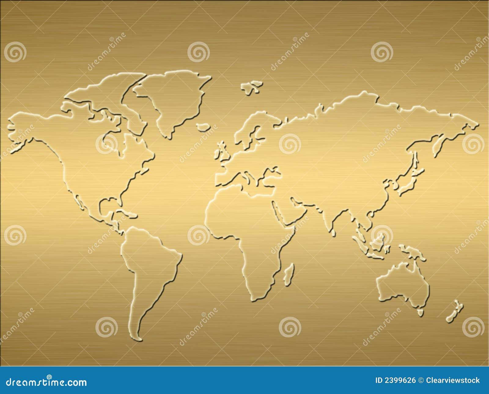 carte du monde d 39 or photo stock image du m tallique carte 2399626. Black Bedroom Furniture Sets. Home Design Ideas