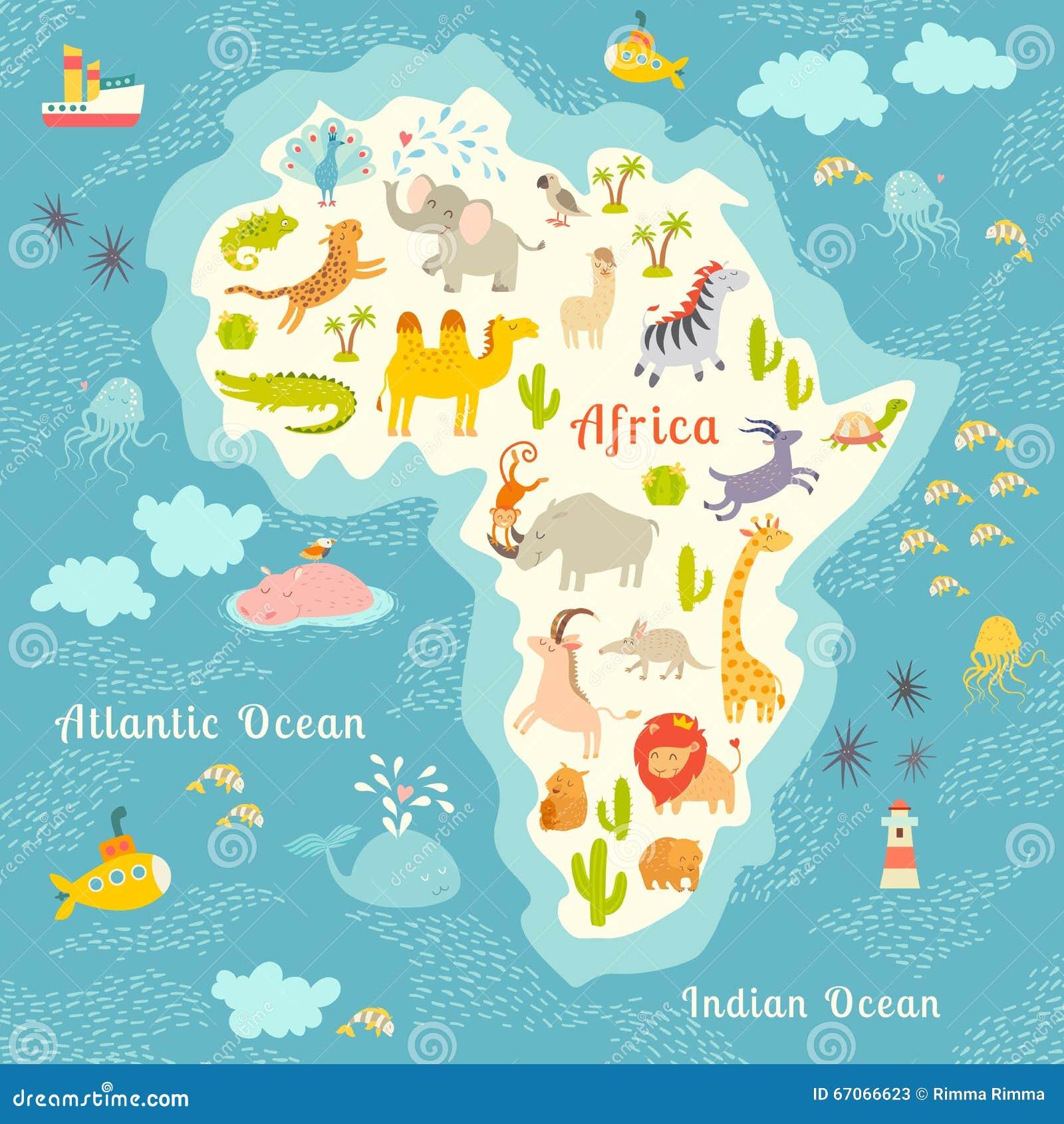 carte du monde d 39 animaux afrique belle illustration. Black Bedroom Furniture Sets. Home Design Ideas