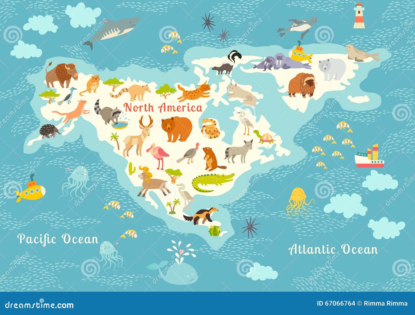 carte du monde d 39 animaux am rique du nord illustration. Black Bedroom Furniture Sets. Home Design Ideas