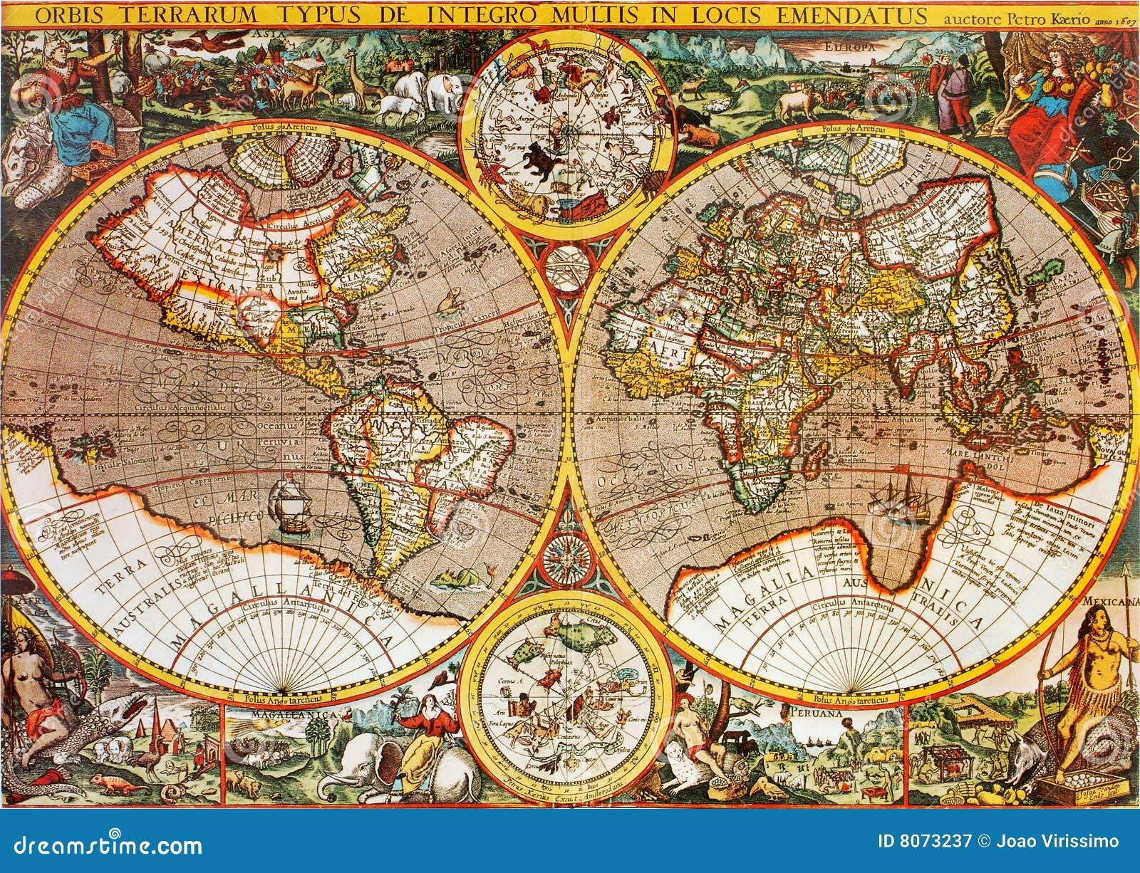 Carte du monde d antiquité