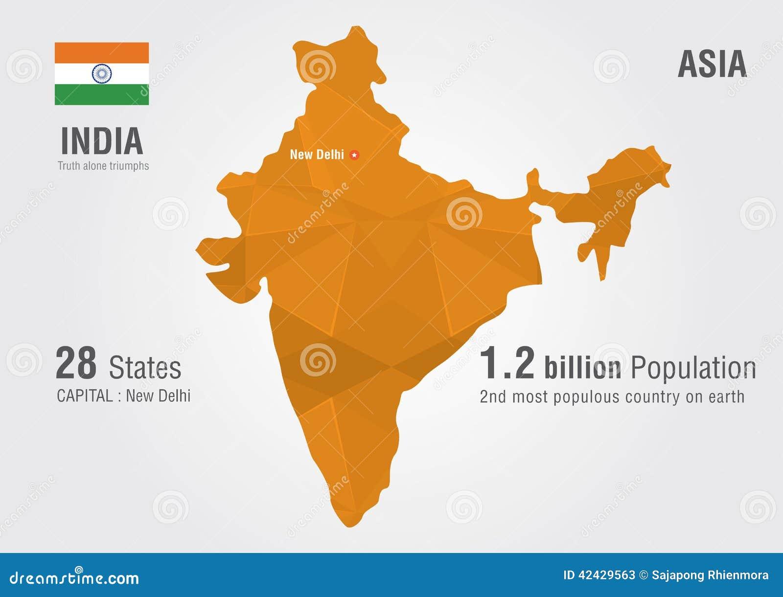 Carte Du Monde D 39 Inde Avec Une Texture De Diamant De Pixel Illustration d