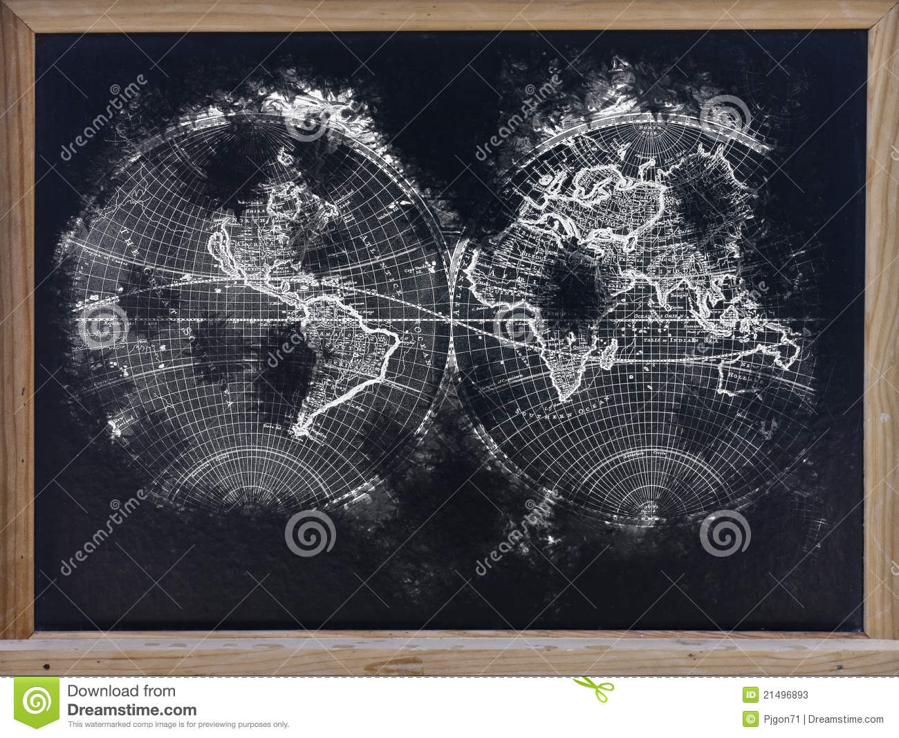 carte du monde dans le tableau noir image stock image 21496893. Black Bedroom Furniture Sets. Home Design Ideas