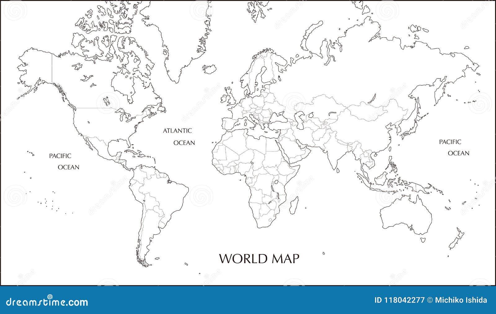 carte du monde carte de blanc de projection de mercator avec la ligne de d marcation. Black Bedroom Furniture Sets. Home Design Ideas