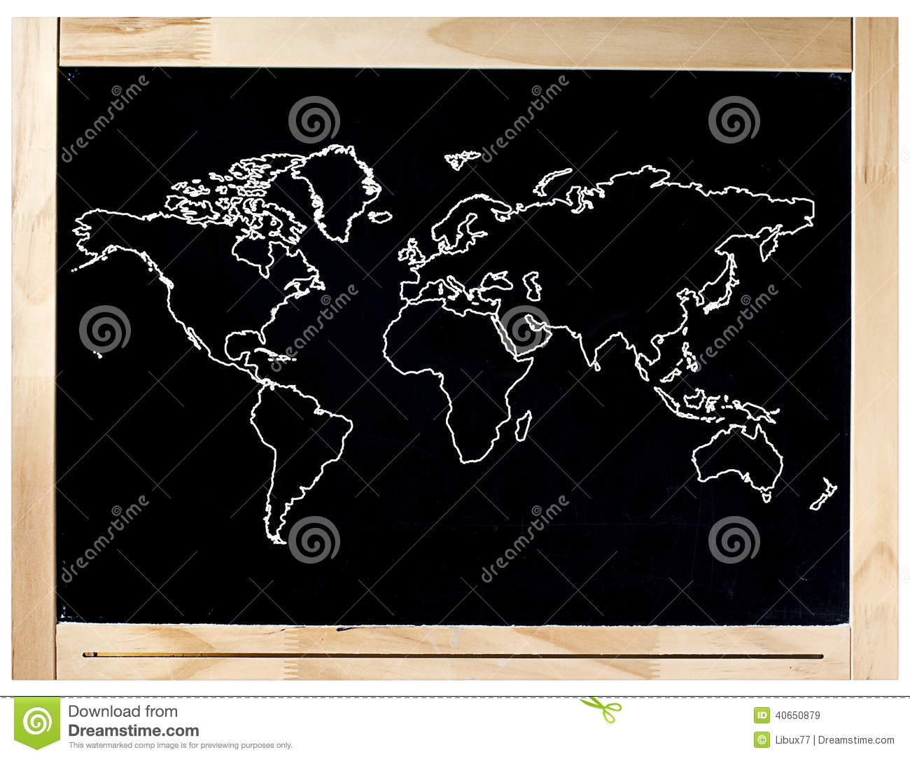 carte du monde de cadre de tableau noir d 39 isolement image stock image 40650879. Black Bedroom Furniture Sets. Home Design Ideas