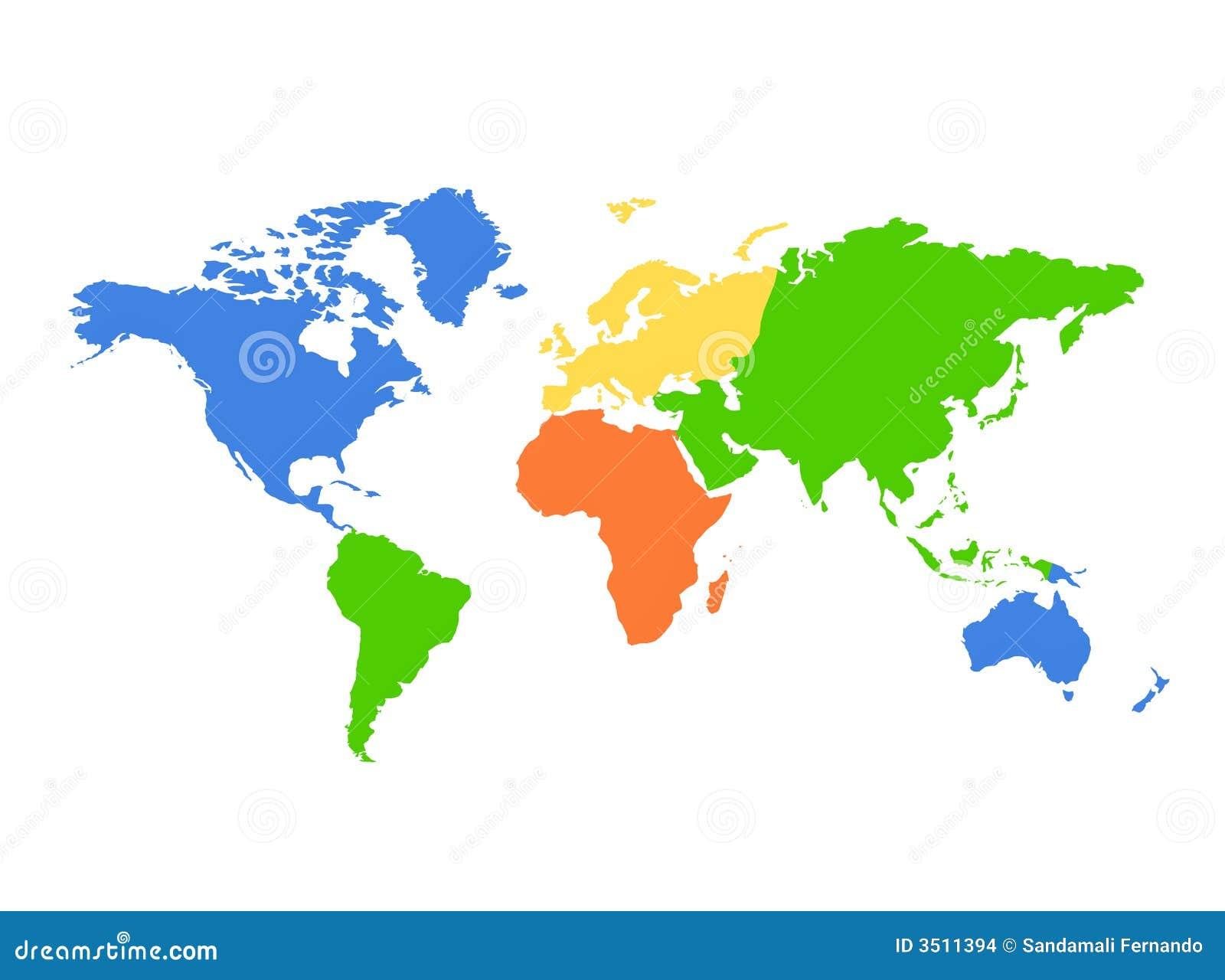 Carte du monde de continents - colorée