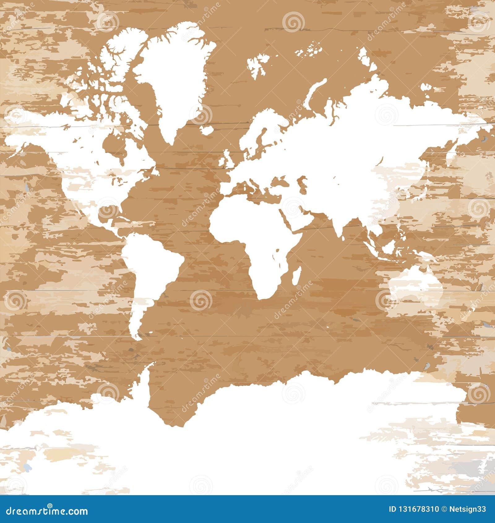 Carte Du Monde De Cru Sur Le Fond En Bois Illustration De