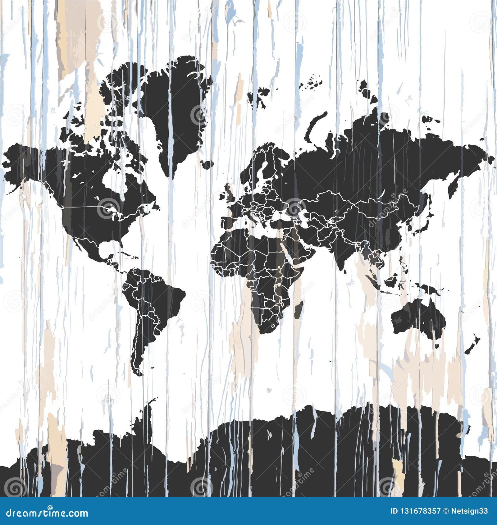 Carte Du Monde Sur Bois.Carte Du Monde De Cru Sur Le Fond En Bois Illustration De Vecteur