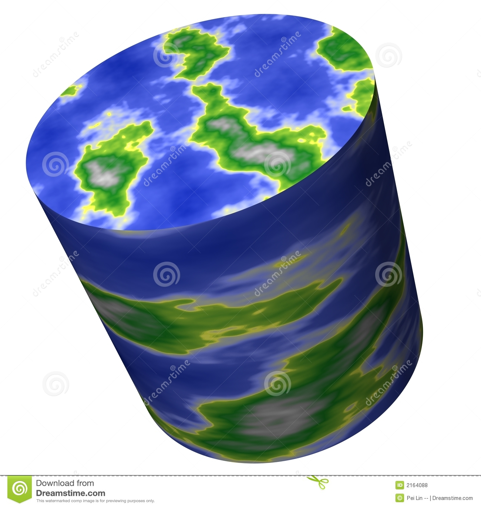 Carte du monde de cylindre
