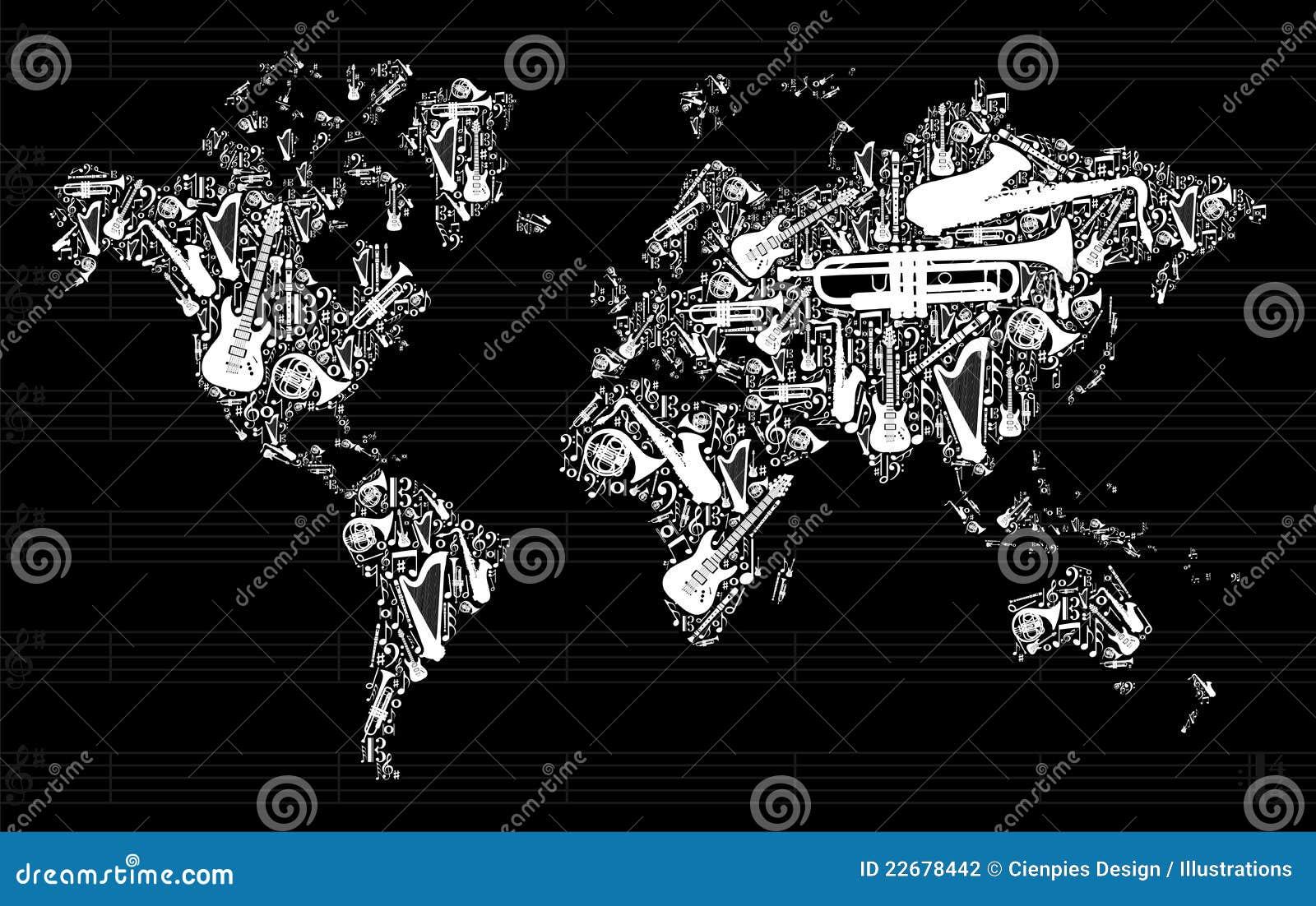 Carte du monde de musique