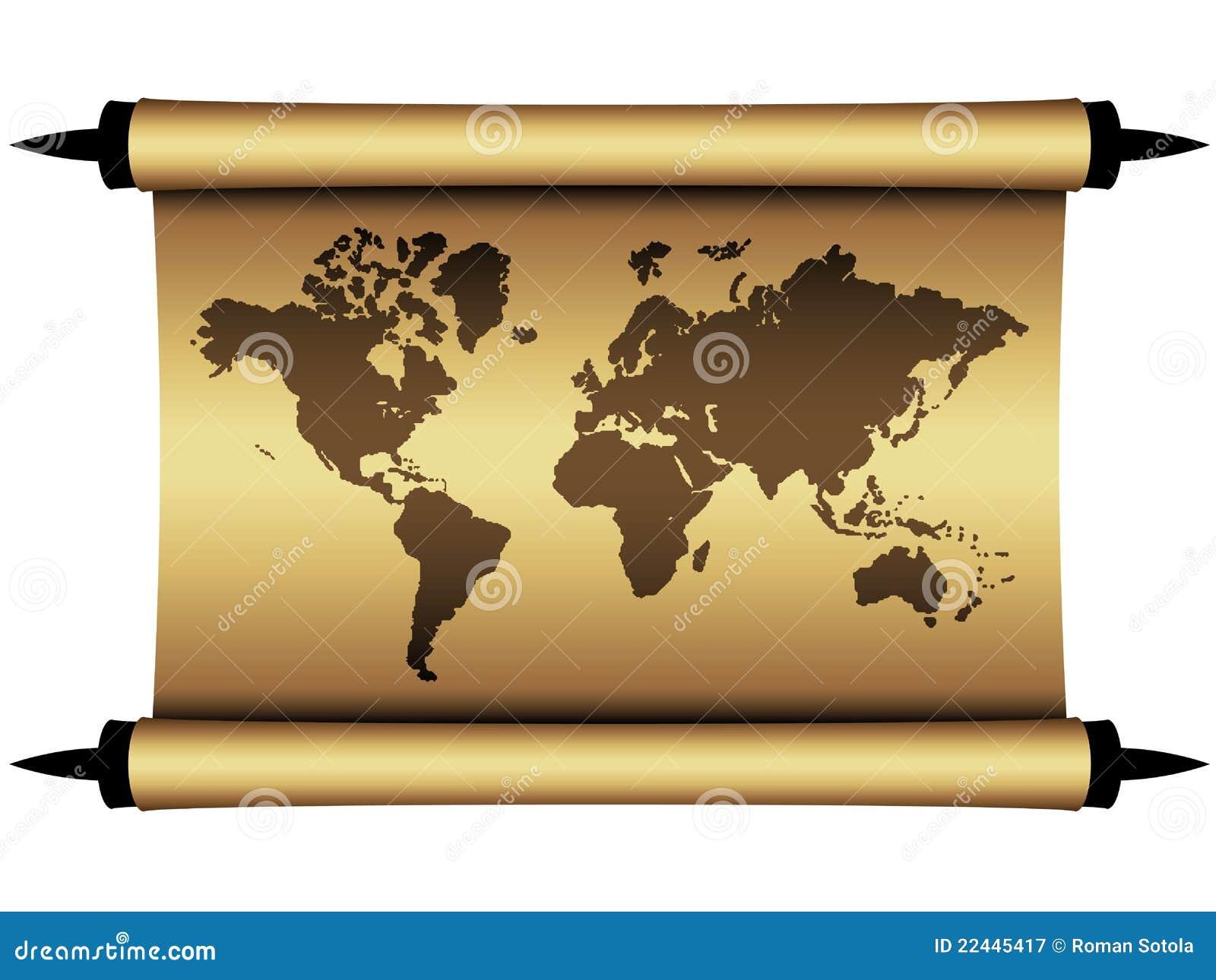 Carte Du Monde Parchemin carte du monde de parchemin illustration de vecteur - illustration