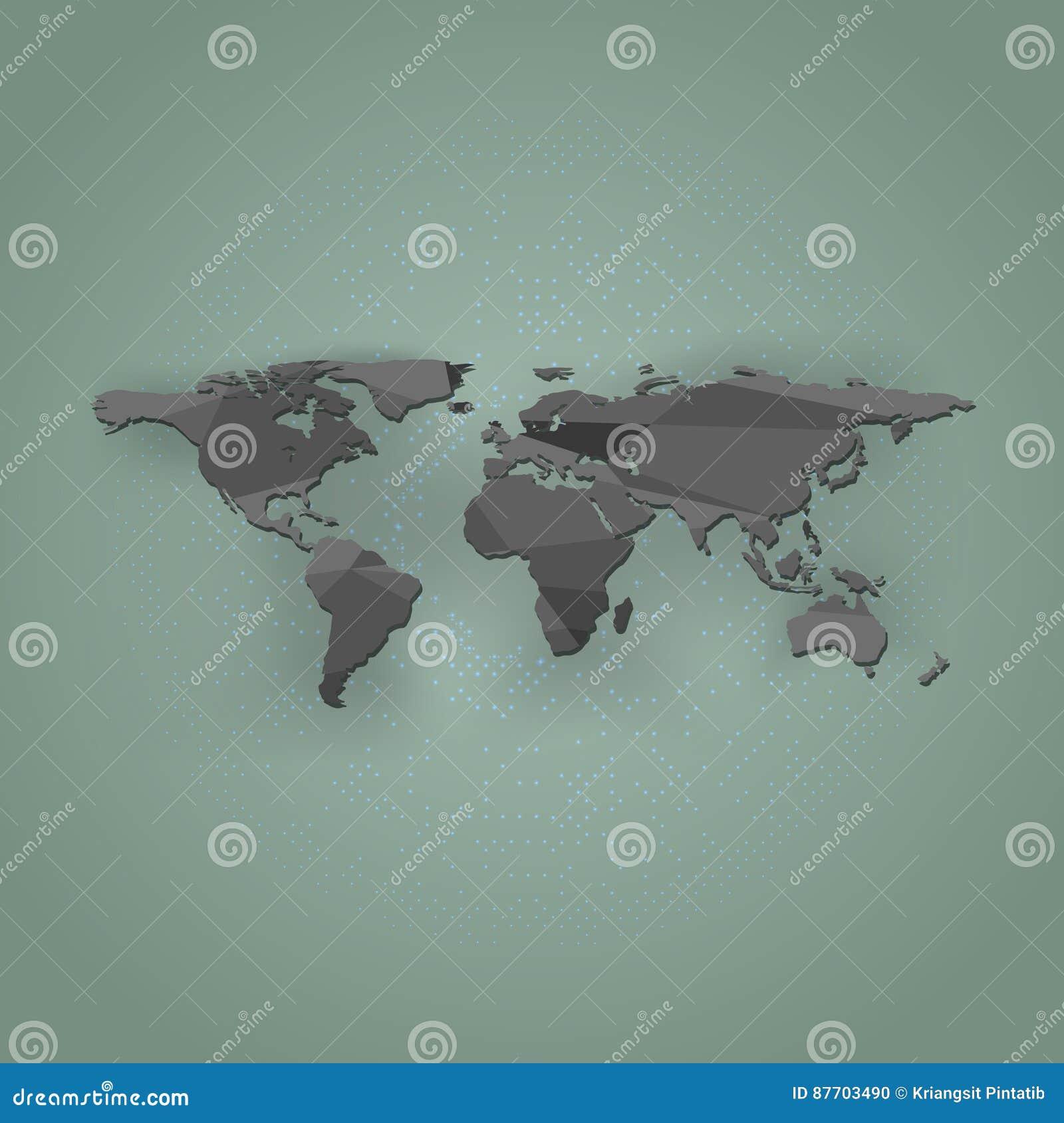 Carte du monde de polygone sur un fond vert, illustration