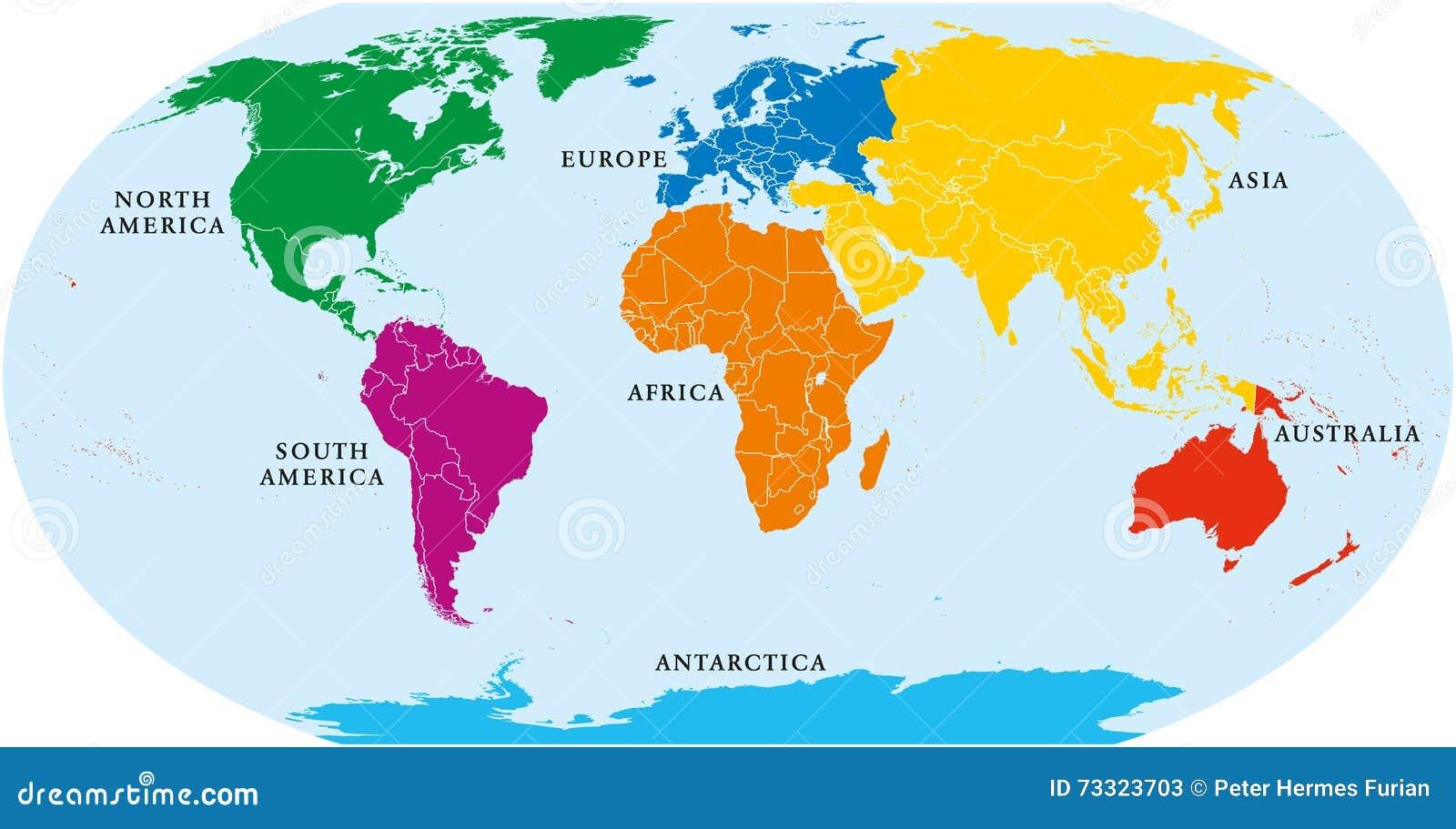 Carte Du Monde Continents.Carte Du Monde De Sept Continents Illustration De Vecteur