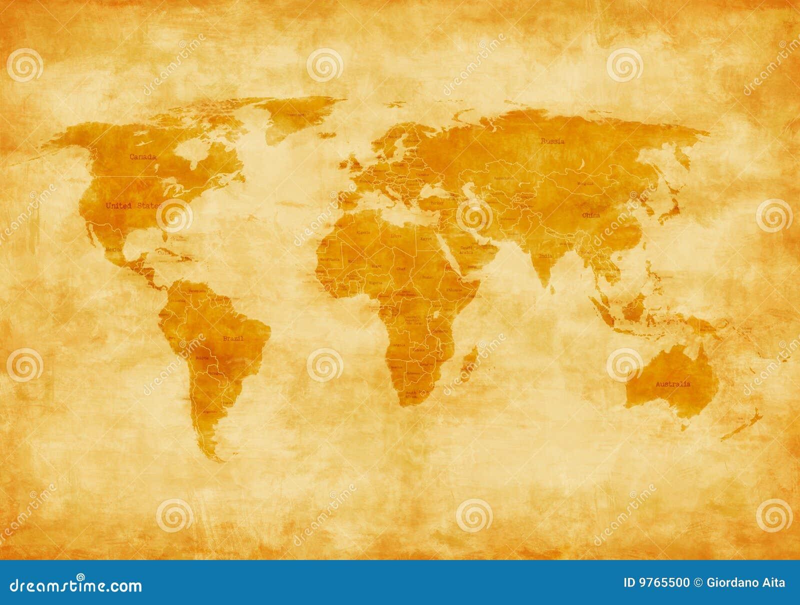 Carte du monde de vieux type