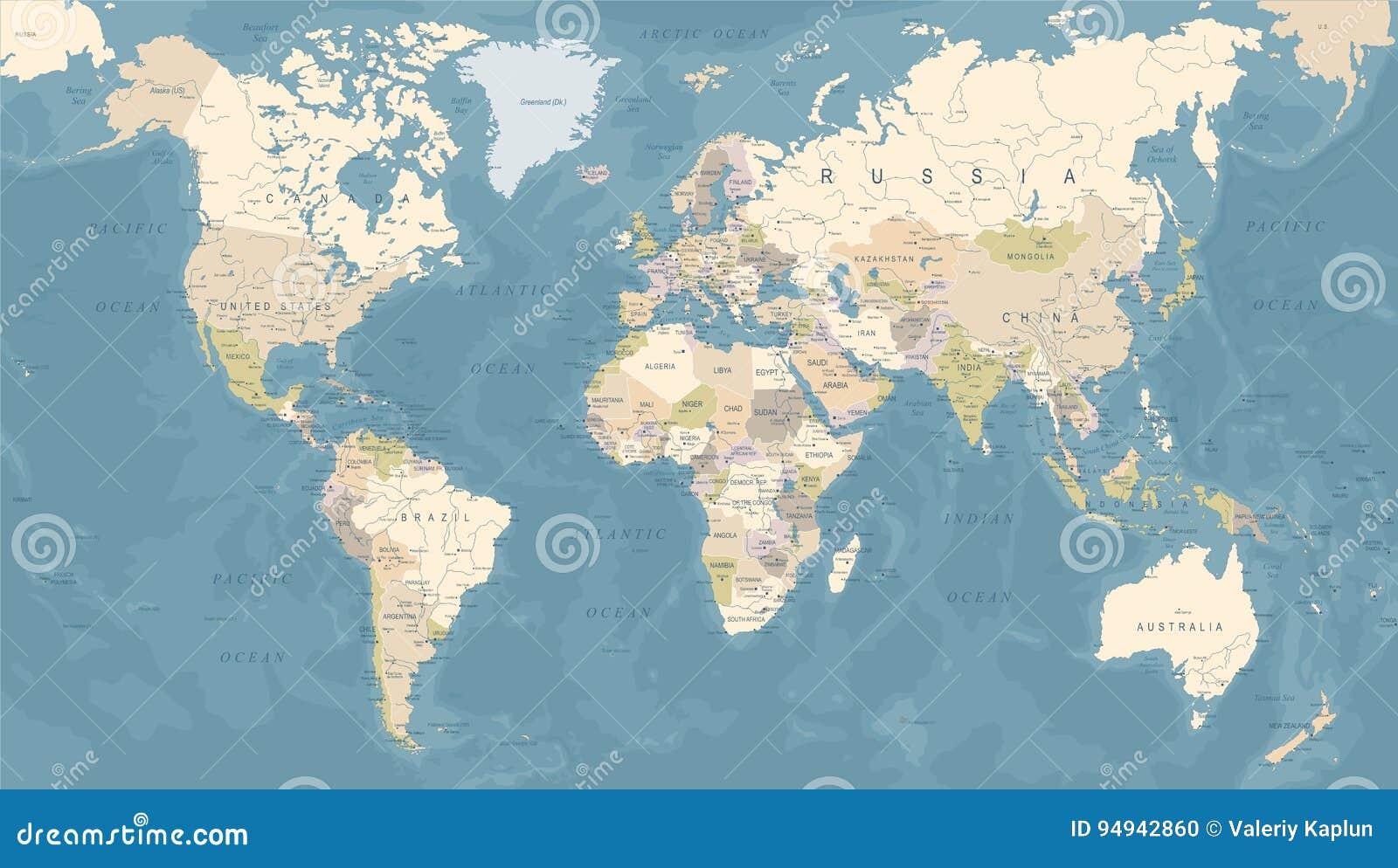 Carte du monde de vintage - illustration de vecteur