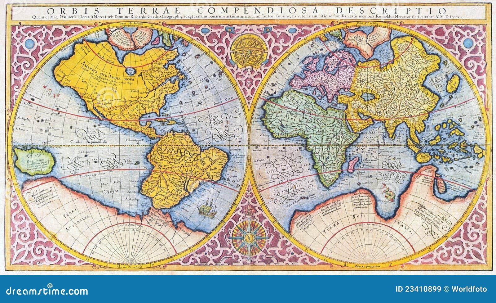 Carte Du Monde De XVIème Siècle Illustration Stock   Illustration