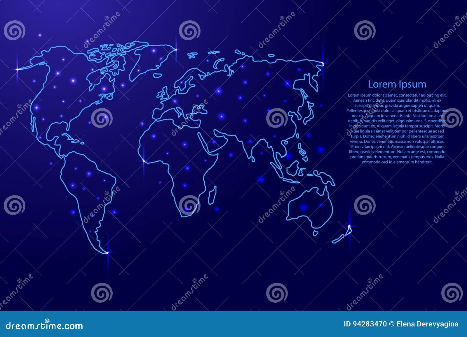 Carte Du Monde Lumineuse.Carte Du Monde Des Decoupes Bleues Et De L Illustration