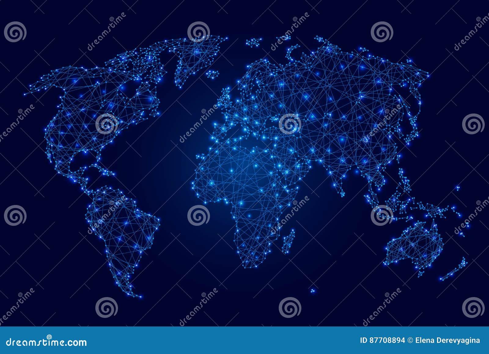 Carte du monde des polygones, des points et des étoiles lumineux bleus sur l illustration foncée de fond