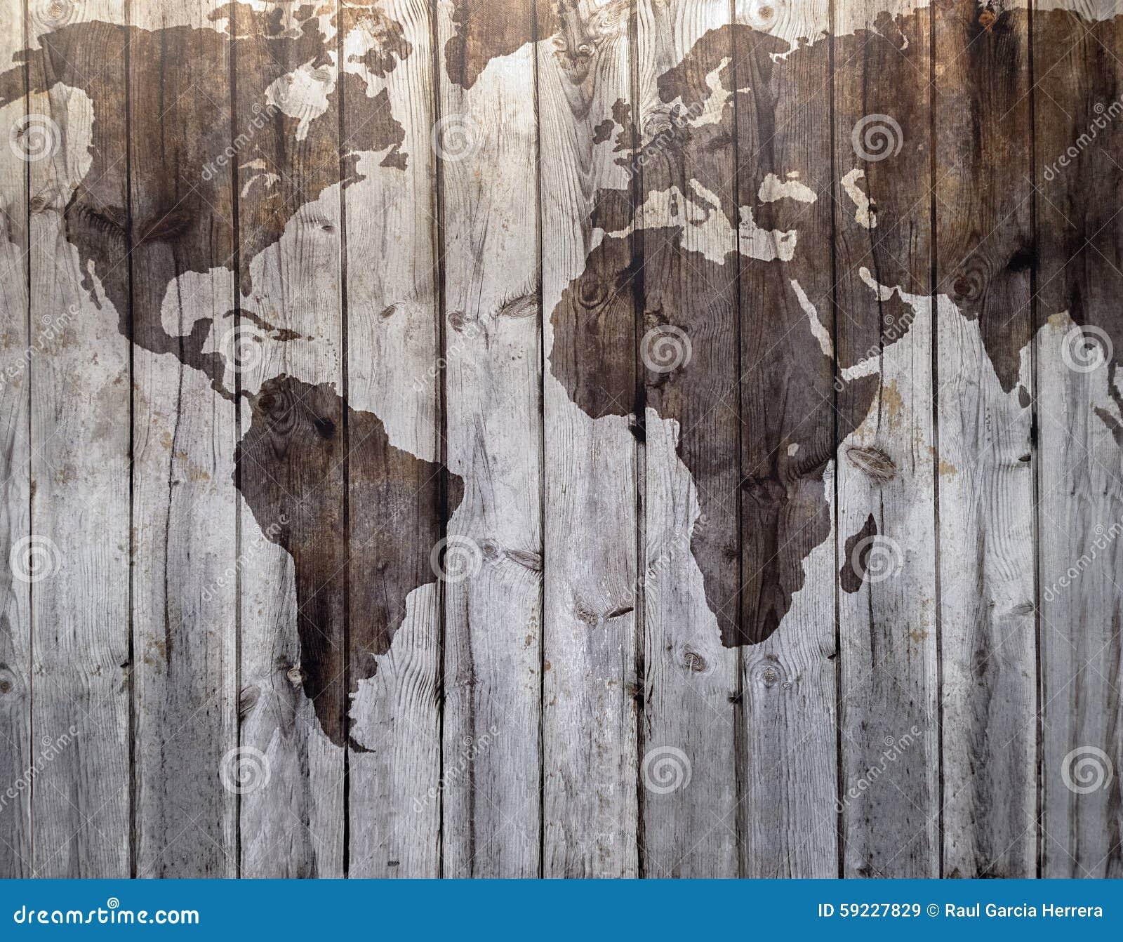 carte du monde dessin e sur l 39 effet en bois de toile photo stock image 59227829. Black Bedroom Furniture Sets. Home Design Ideas