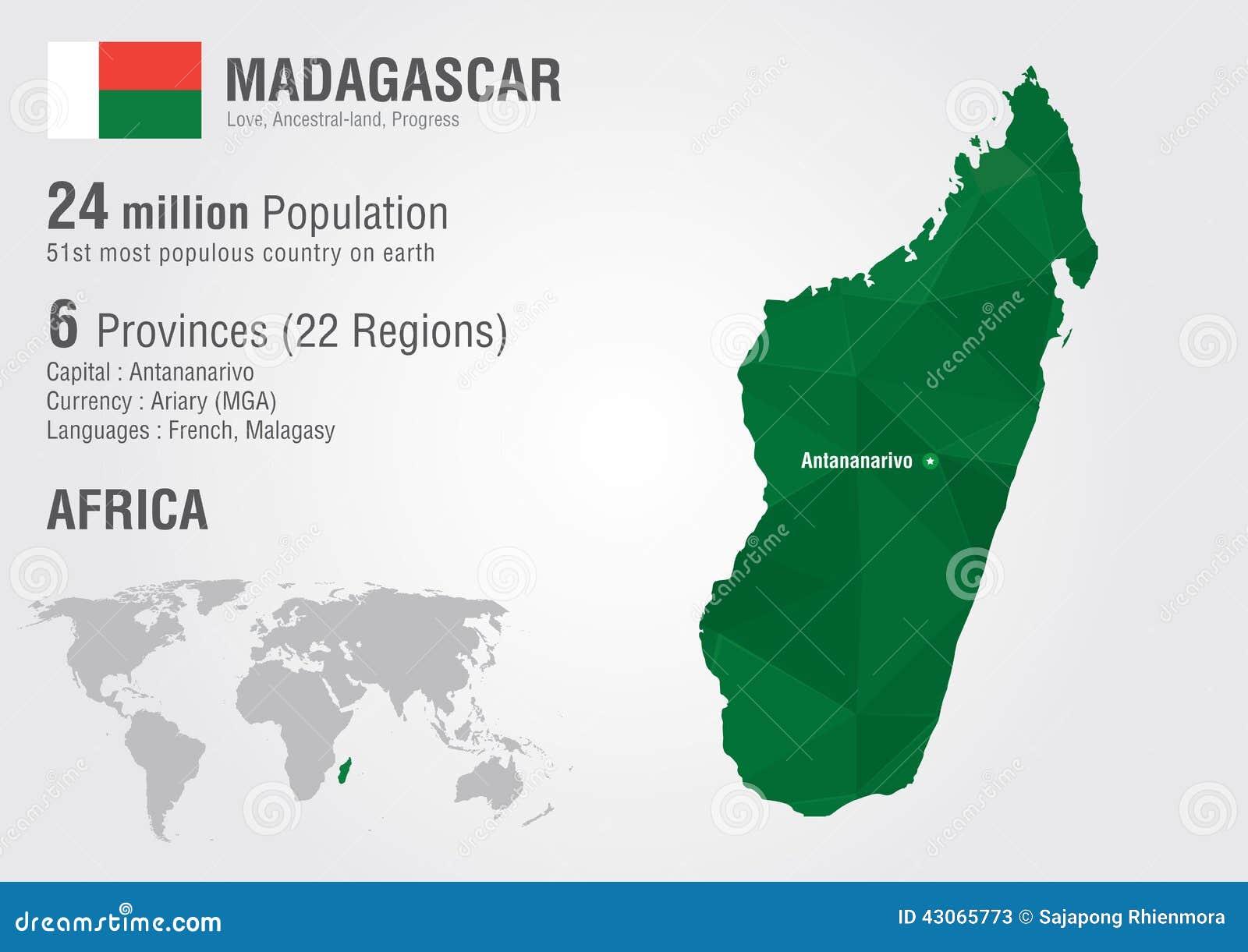 Carte Madagascar Dans Le Monde.Carte Du Monde Du Madagascar Avec Une Texture De Diamant De