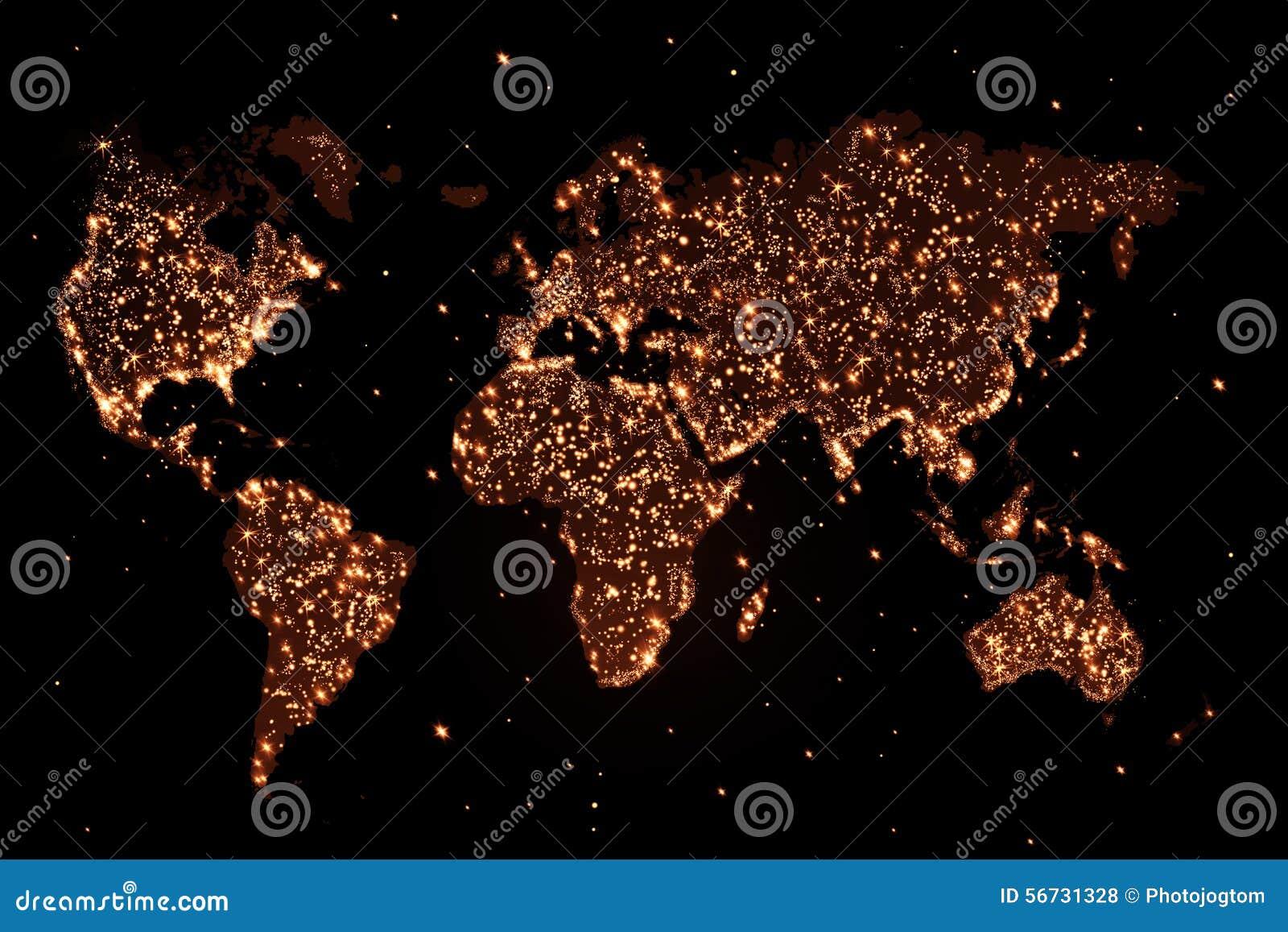 Carte du monde pendant la nuit avec des lumières