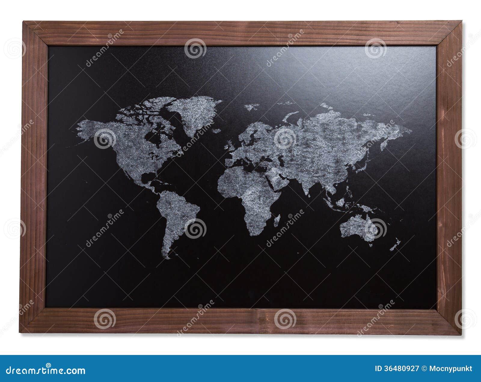 Carte Du Monde Sur La Table De Tableau Noir Image Stock