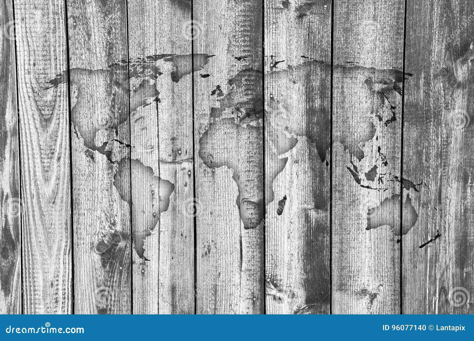 Carte Du Monde Sur Bois.Carte Du Monde Sur Le Bois Superficiel Par Les Agents Photo Stock