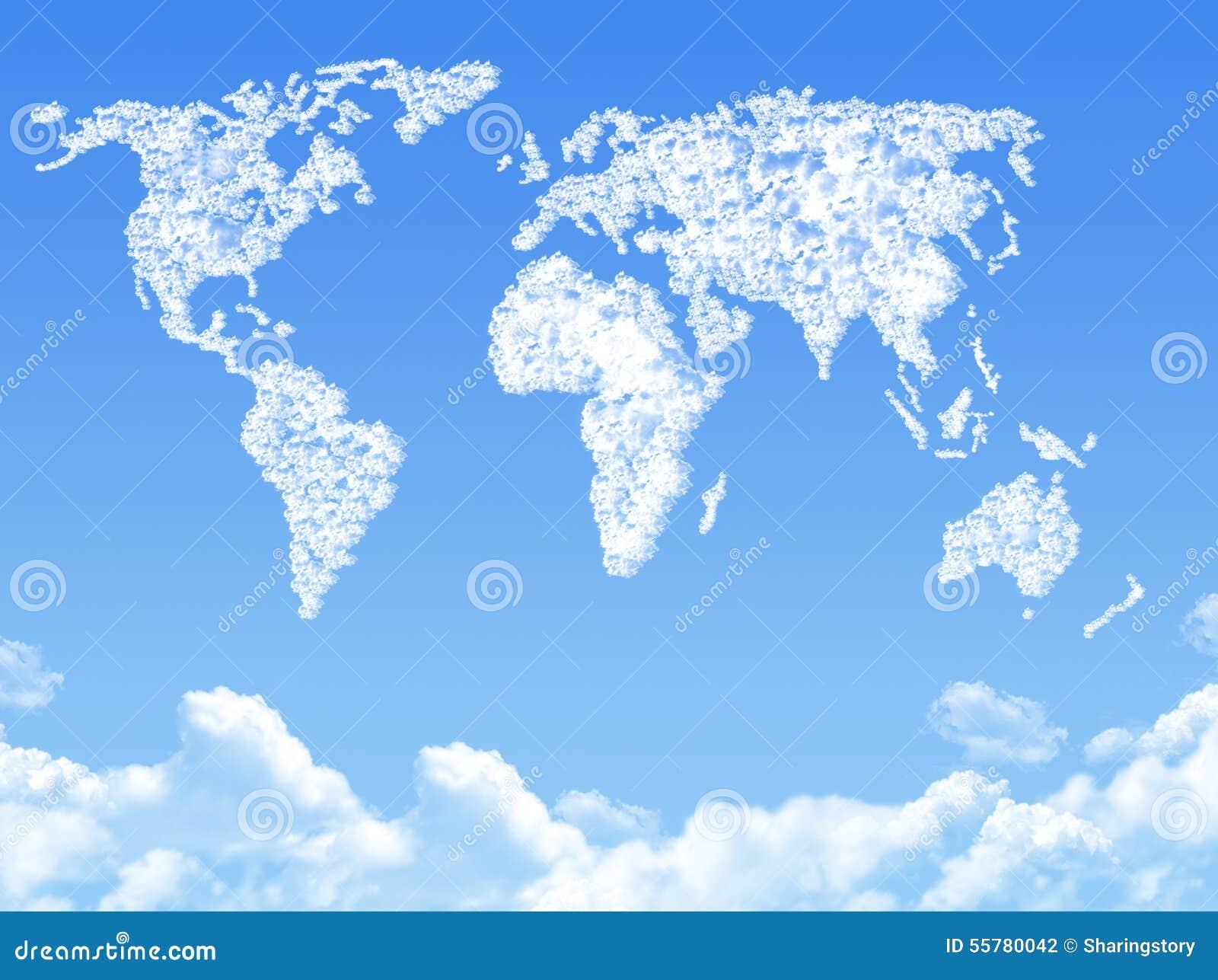 Carte du monde sur le nuage form illustration stock image 55780042 - La cerise sur le nuage ...