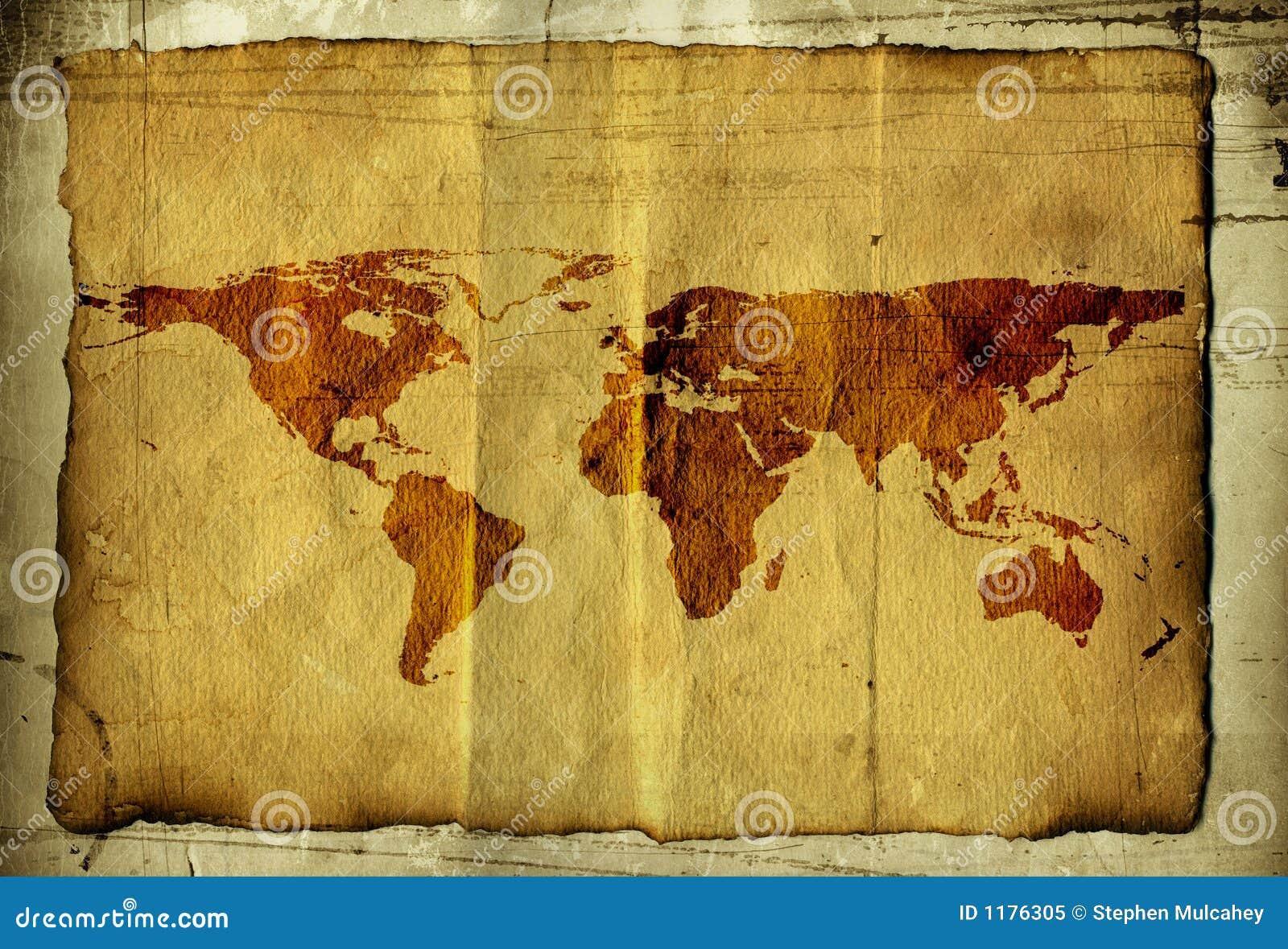 Carte Du Monde Parchemin carte du monde sur le parchemin illustration stock - illustration du