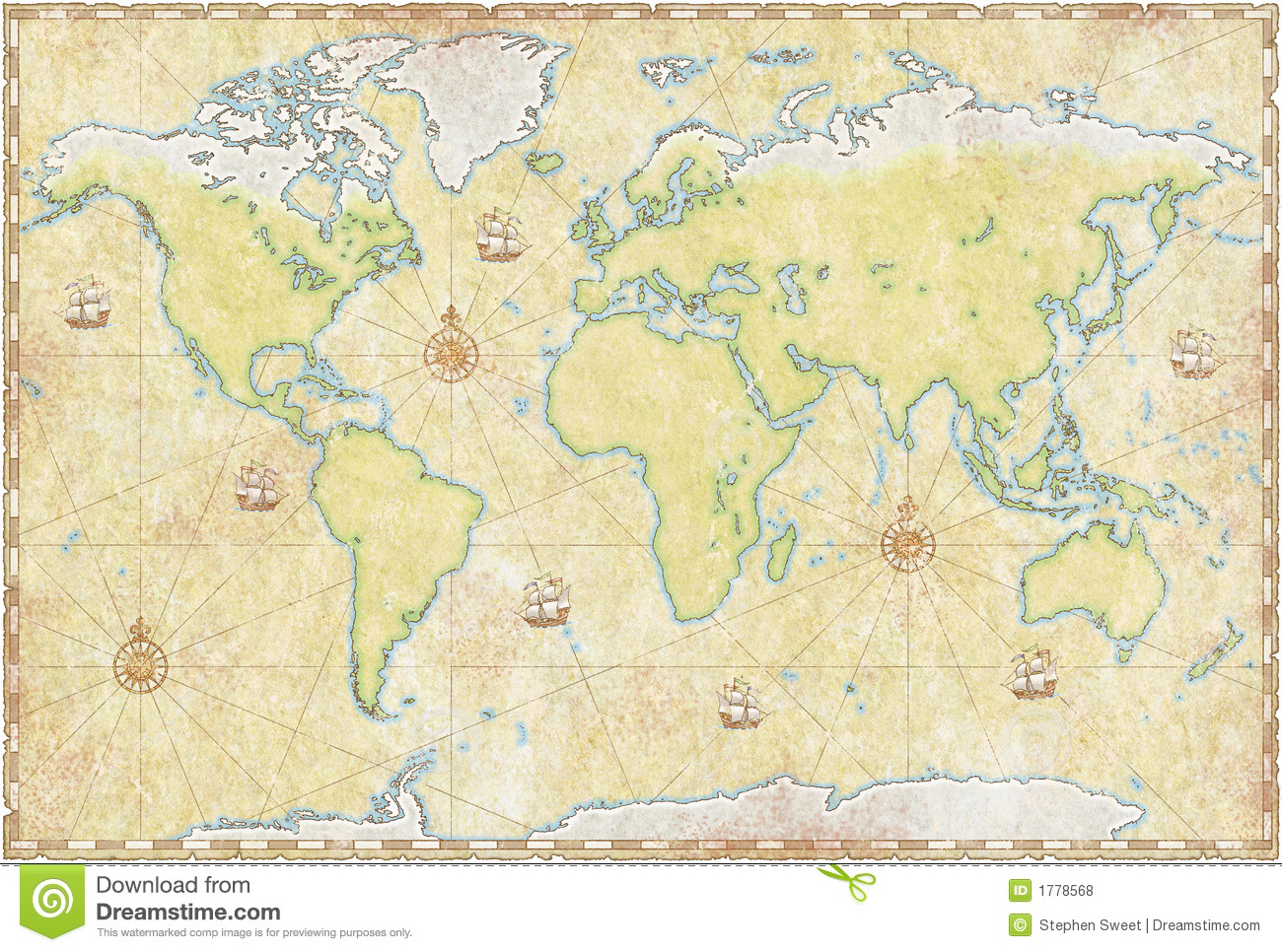 carte du monde sur le parchemin photos libres de droits image 1778568. Black Bedroom Furniture Sets. Home Design Ideas