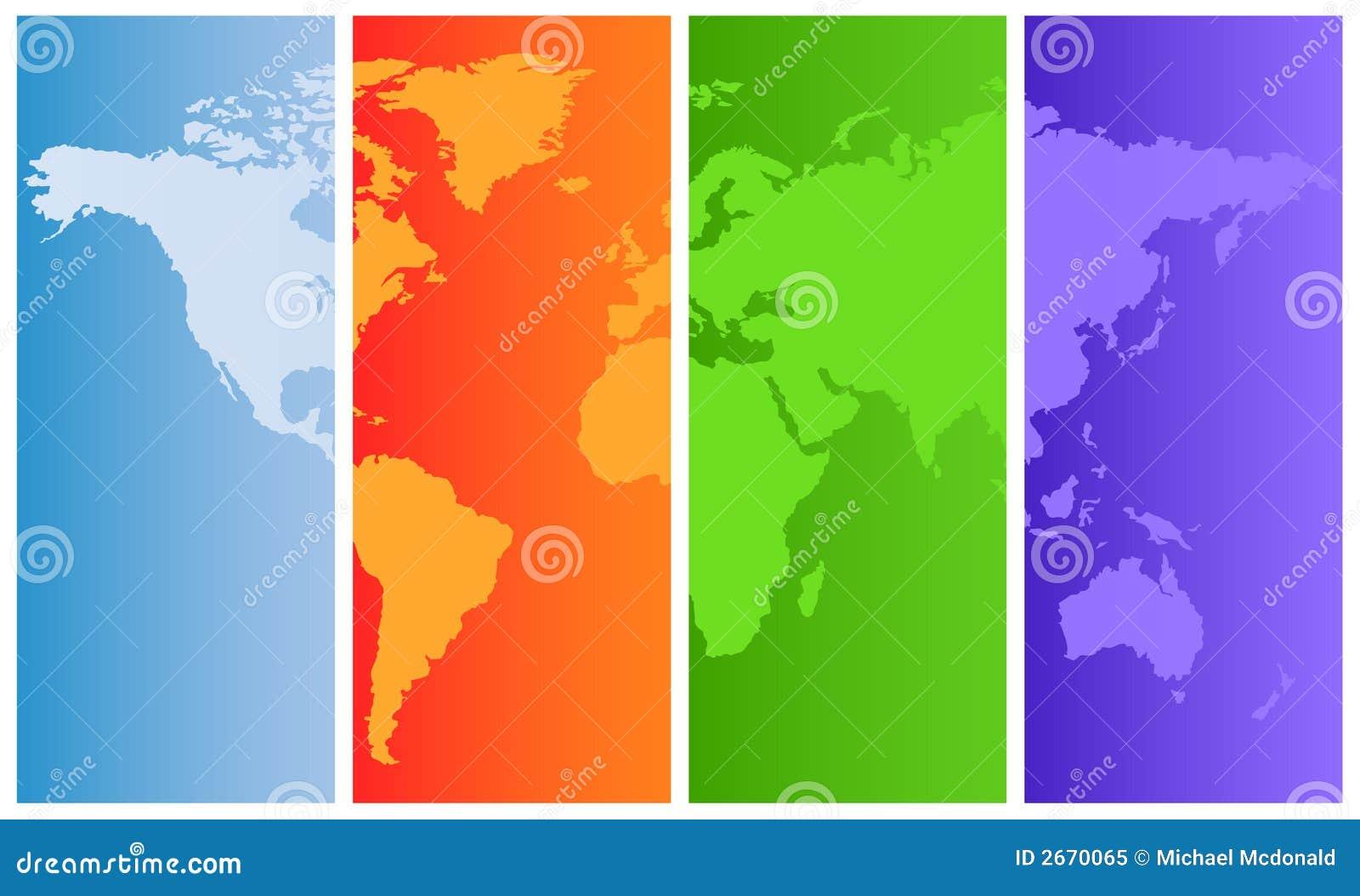 Carte du monde sur les panneaux colorés