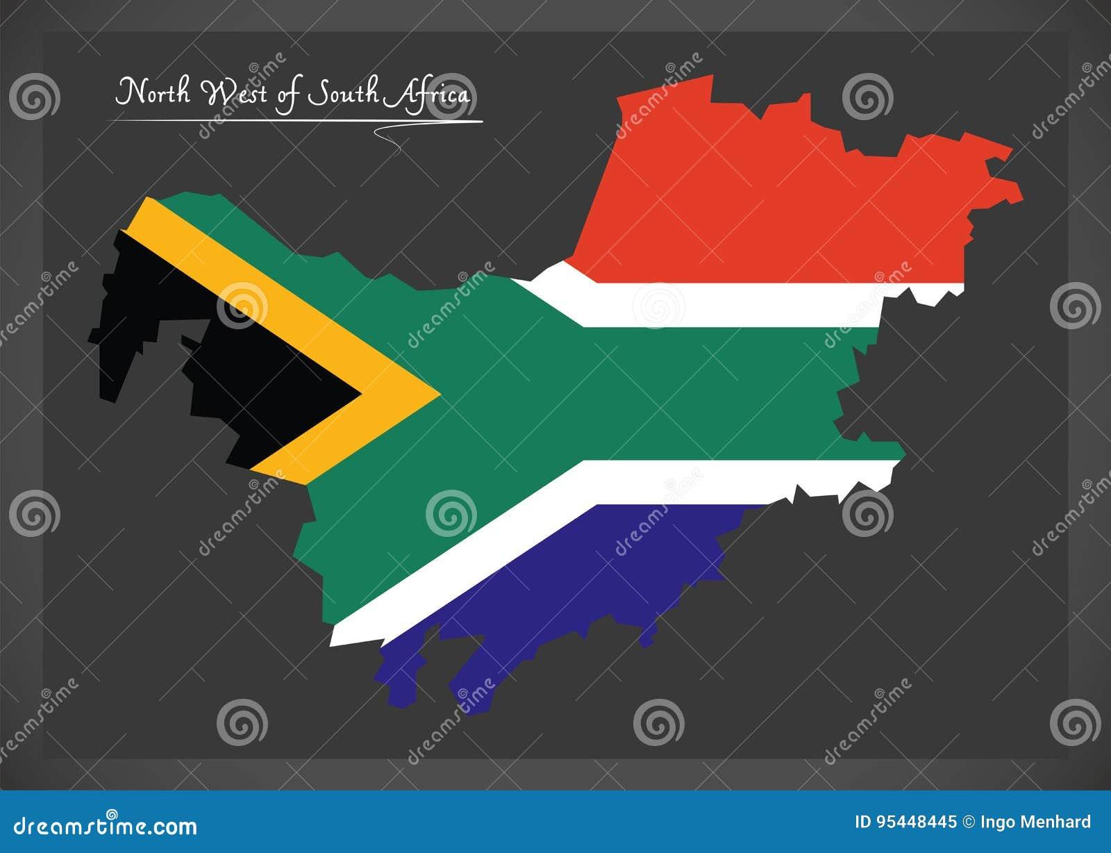 Carte Afrique Du Sud Ouest.Carte Du Nord Ouest De L Afrique Du Sud Avec Le Drapeau National