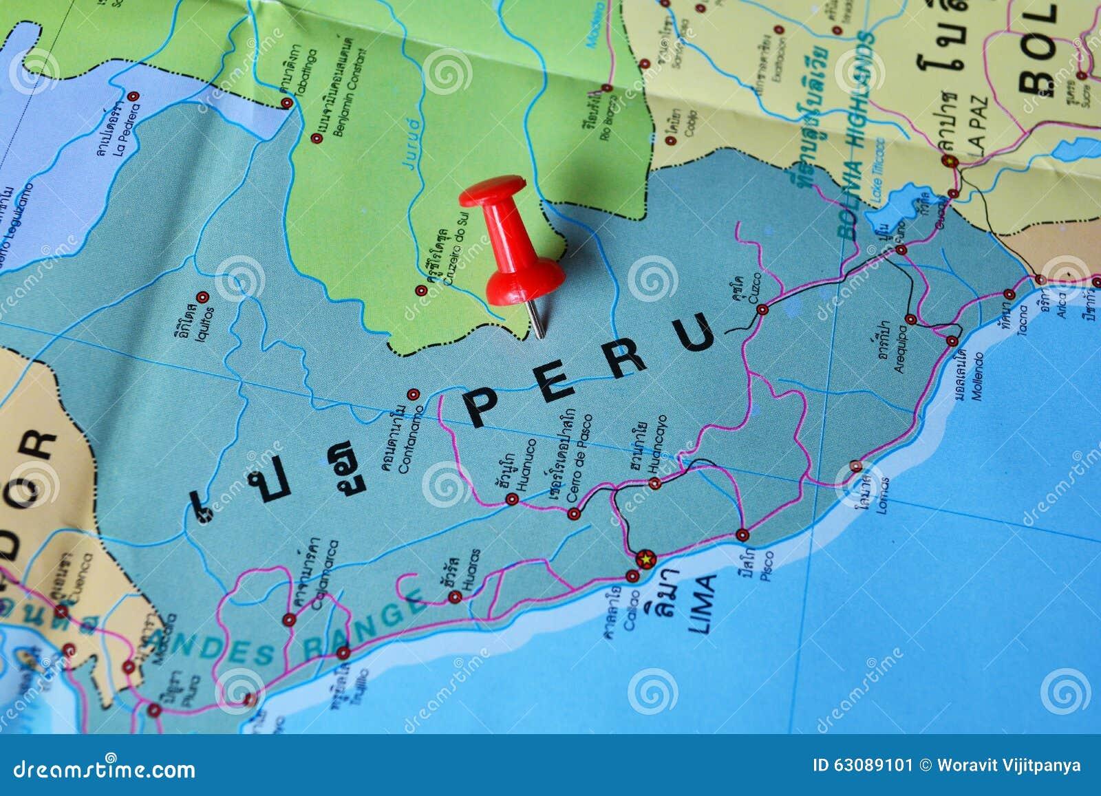 Download Carte du Pérou image stock. Image du tourisme, amazone - 63089101