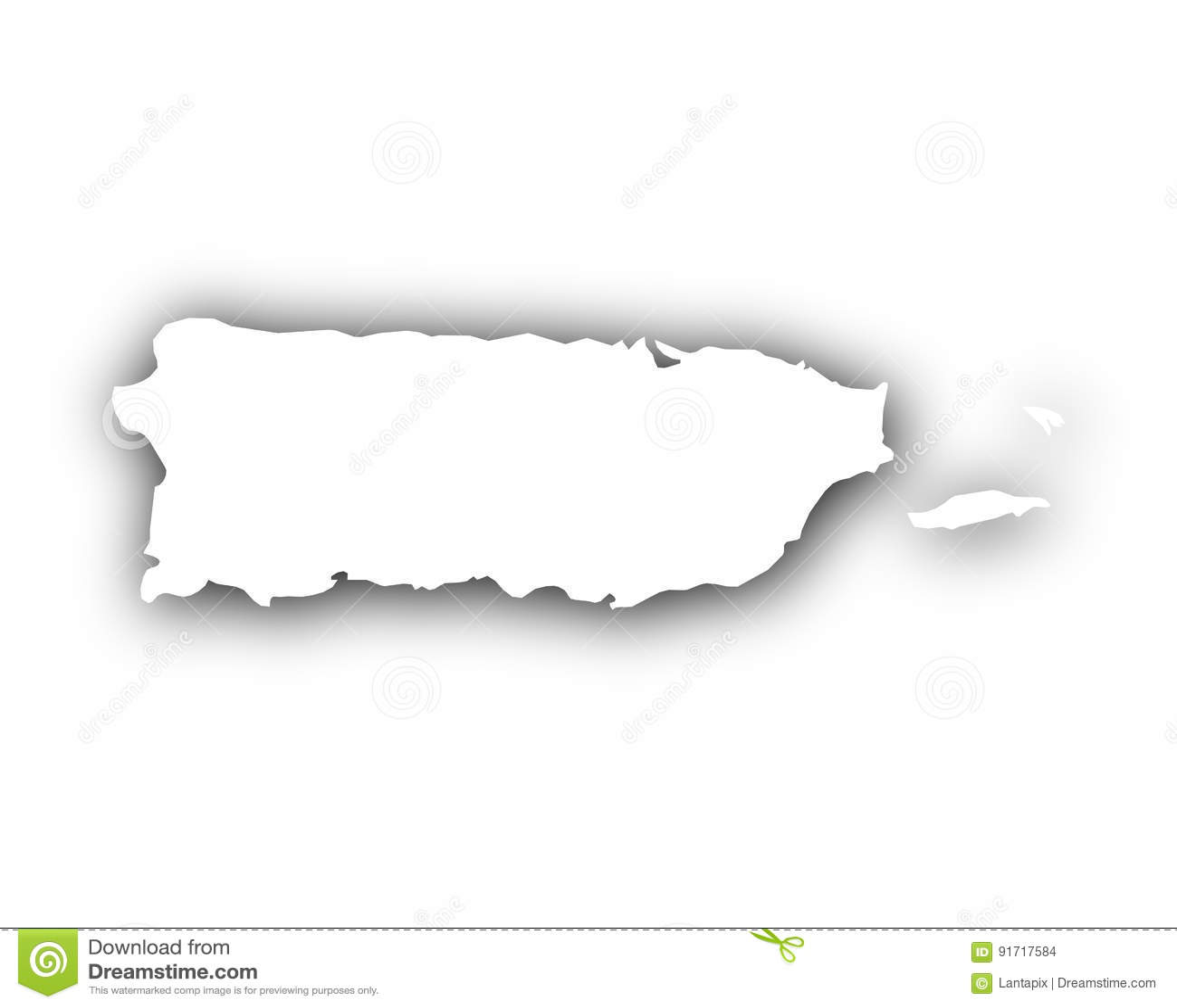 Carte du Porto Rico avec l ombre
