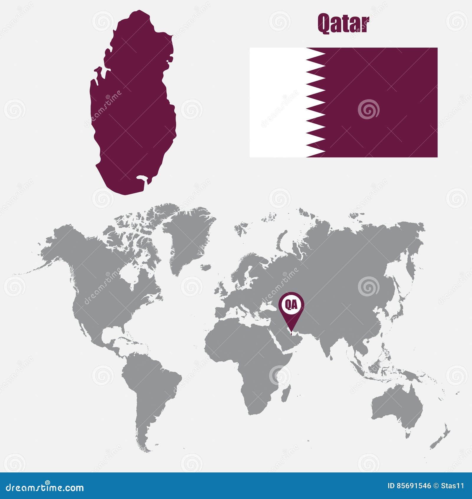 Carte Du Monde Qatar.Carte Du Qatar Sur Une Carte Du Monde Avec L Indicateur De Drapeau