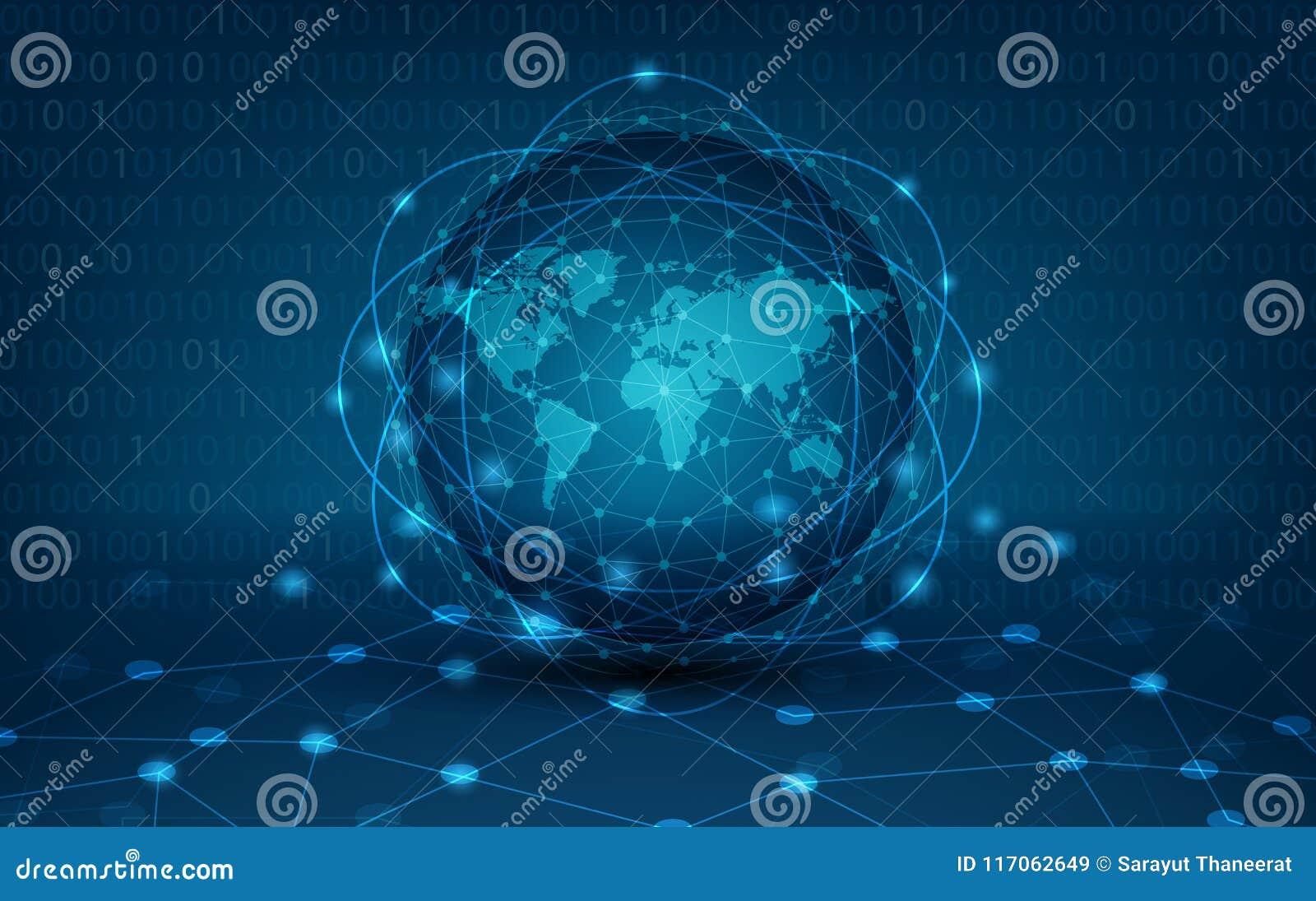 Carte du réseau globale de communications de la terre de réseau du netwo global de logistique de carte du monde de fond de carte