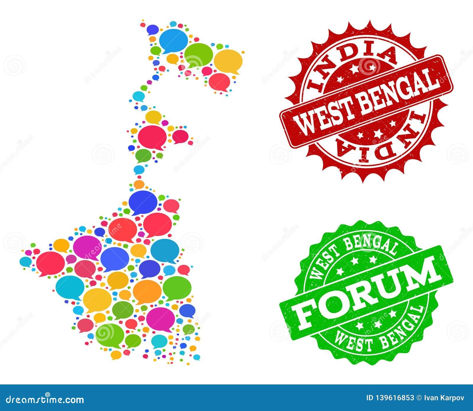 Carte du réseau sociale d état du Bengale-Occidental avec des nuages de message et des joints rayés
