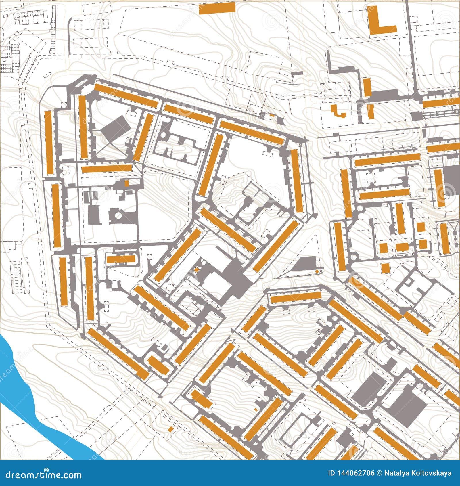 Carte editable générique de ville de vecteur sans des noms